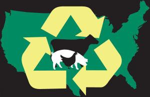 livestock and poultry environmental learning center logo with cow, pig, and chicken sillhouettes over a map of the U.S. with three circling arrows