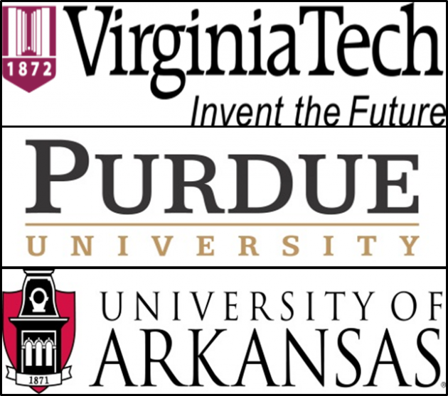 logos from University of Arkansas, Purdue University and Virginia Tech