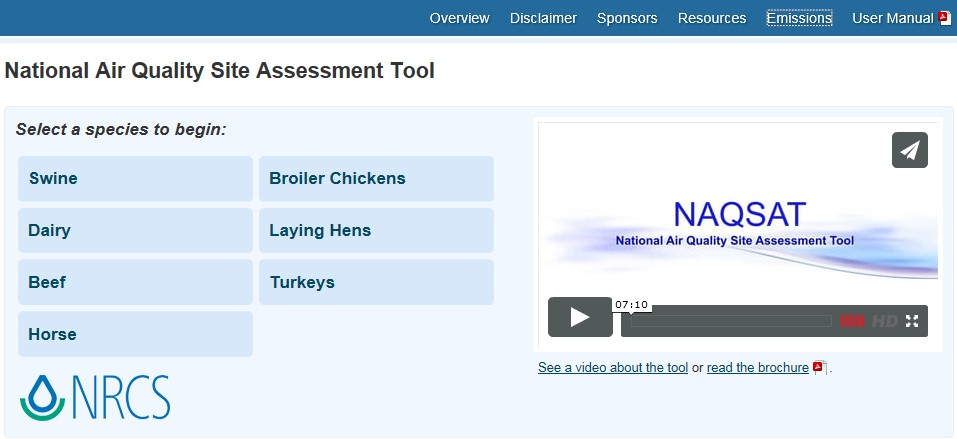 Snippet from website of the National Air Quality Site Assessment Tool