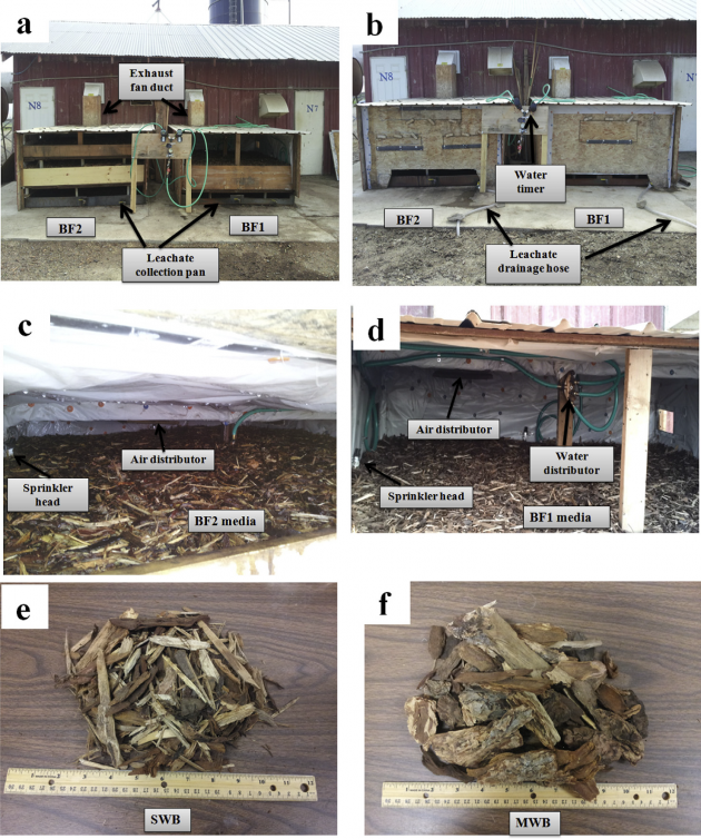 Picture (a)biofilter 1 (BF1) and biofilter 2(BF2) with front doors open; (b) biofilters with front doors closed; (c) media and water distribution system in BF2; (d) media and water distribution system in BF1; (e) shredded wood bark; (f) medium wood bark.