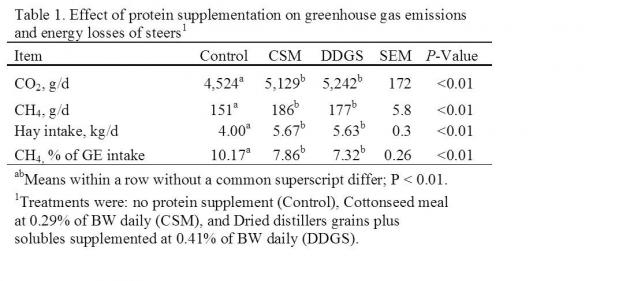 Table 1. Effect of protein supplementation on greenhouse gas emissions and energy losses of steers
