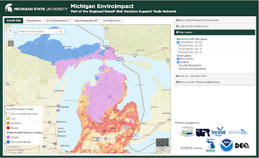The MI EnviroImpact tool displaying both winter and non-winter modes of daily runoff risk.