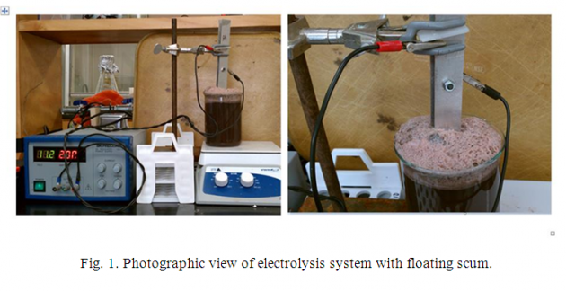 Figure 1. photographic view of electrolysis system with floating scum