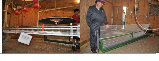 Figure 3. Pilot ammonia recovery systems installed in a chicken barn at UMES Poultry Research Facility. At left is a recovery module that uses tubular gas-permeable membranes. At right is a recovery module that uses flat gas-permeable membranes.